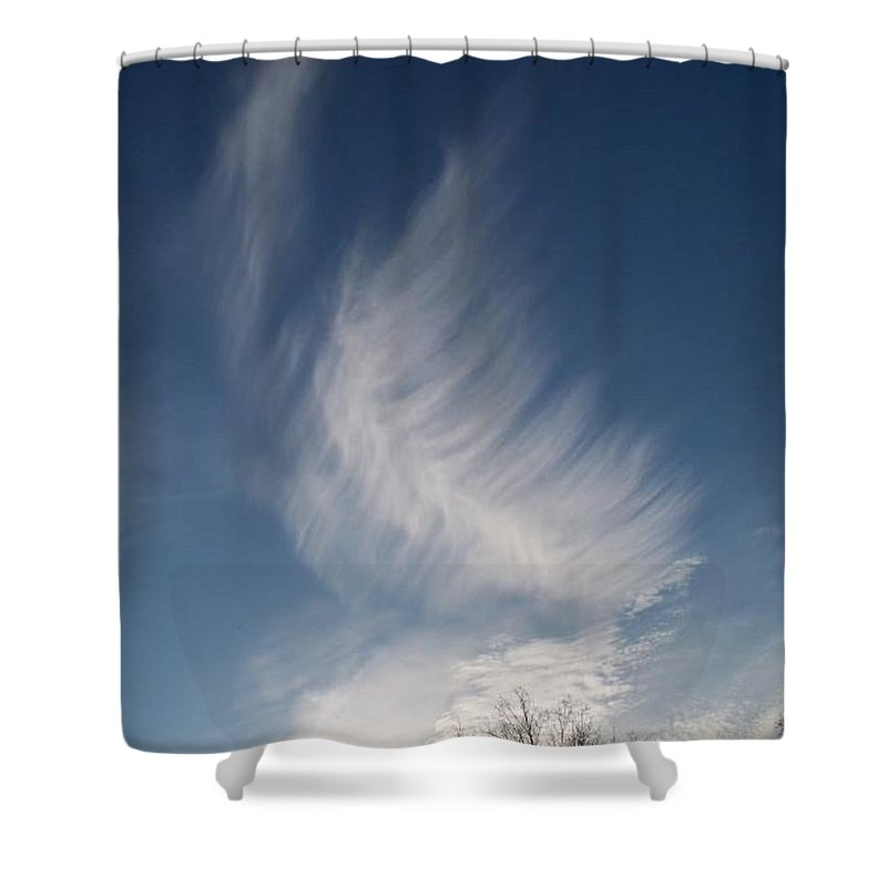 Angel Shower Curtain featuring the photograph Feather Cloud By Diane Schiabor by Eric Schiabor