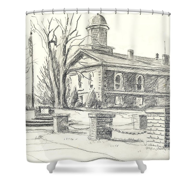 February Morning No Ctc102 Shower Curtain featuring the drawing February Morning No Ctc102 by Kip DeVore