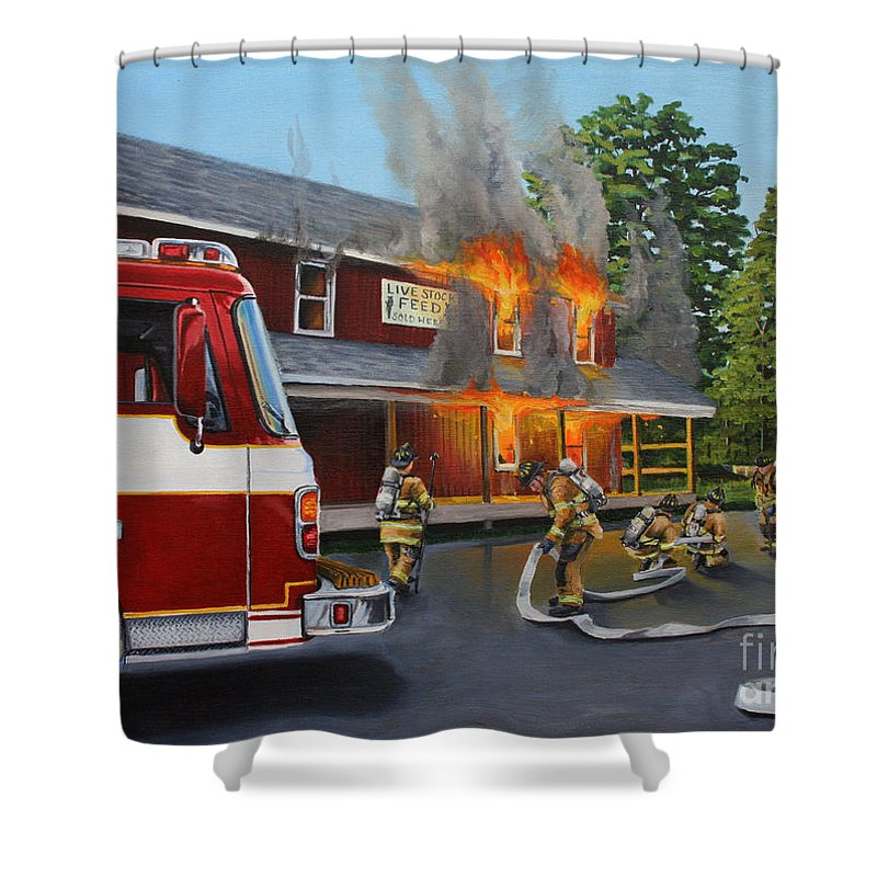 Bulding Fire Shower Curtain featuring the painting Feed Store Fire by Paul Walsh