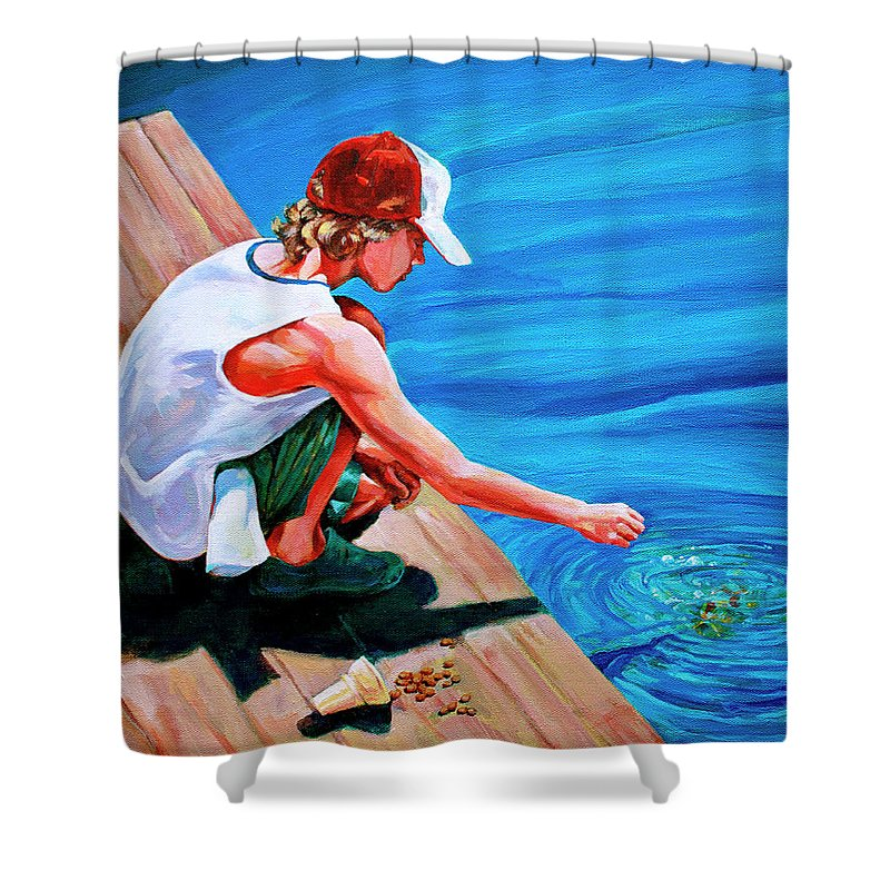 Koi Shower Curtain featuring the painting Feeding Koi by Derrick Higgins