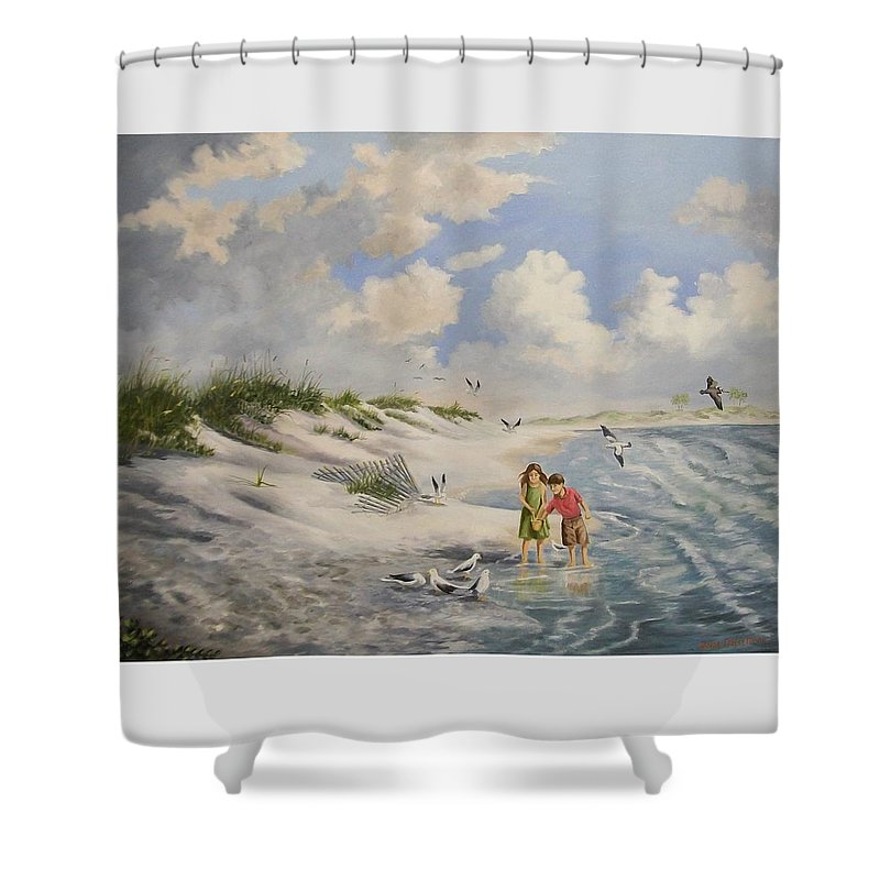 2 Children Shower Curtain featuring the painting Feeding The Wildlife by Wanda Dansereau