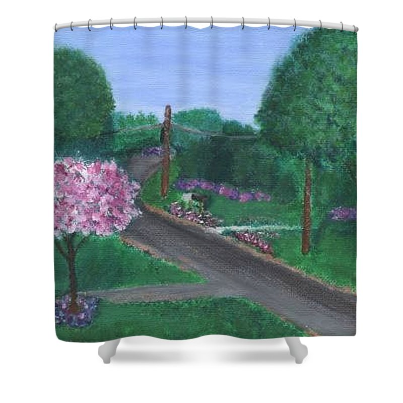Plein Aire Shower Curtain featuring the painting Fellowship by Sheila Mashaw