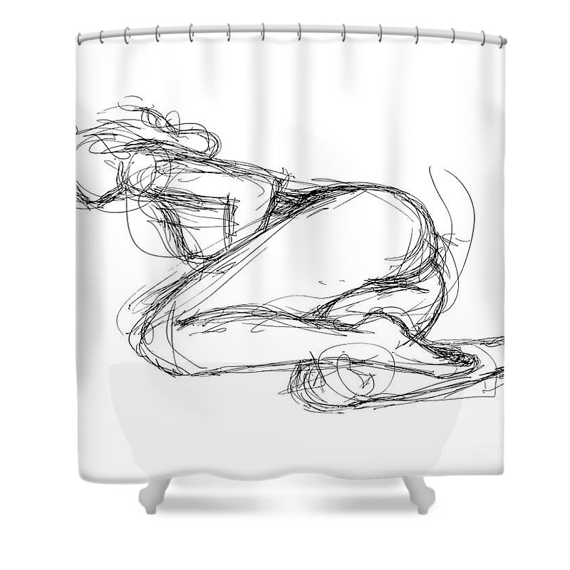 Female Erotic Drawings Shower Curtain Featuring The Drawing Sketches 8 By