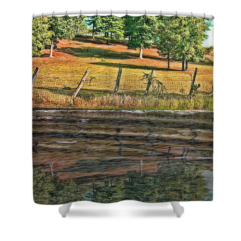 Tn Shower Curtain featuring the photograph Fence Reflection by Ericamaxine Price