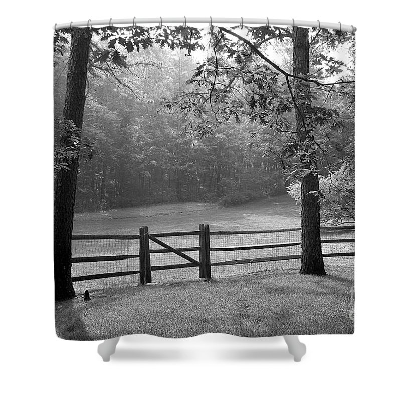 Black & White Shower Curtain featuring the photograph Fence by Tony Cordoza