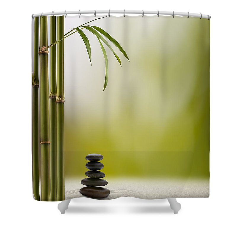 Bamboo Shower Curtain featuring the photograph Feng Shui Bliss by Pixhook