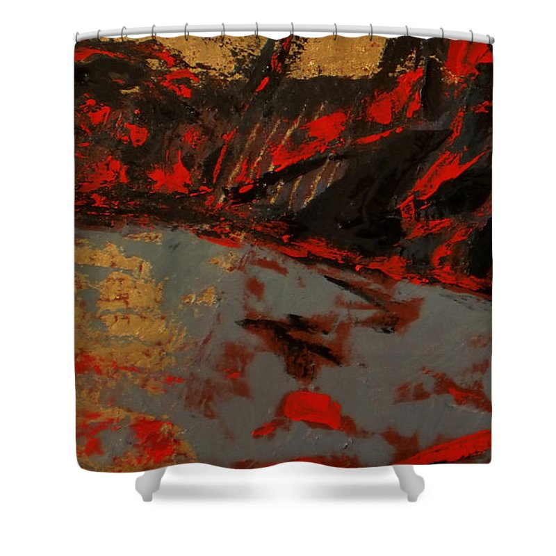 Landscape Shower Curtain featuring the painting Feng Shui - Gold Mountain by Vladimir Vlahovic