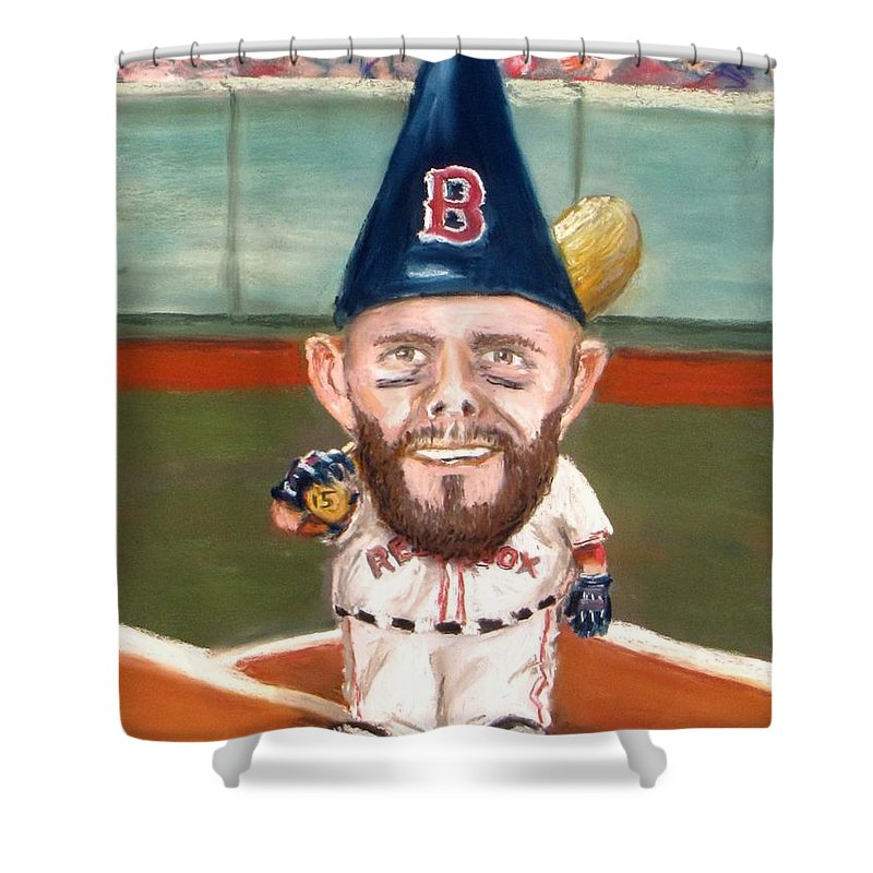 Boston Red Sox Shower Curtain Featuring The Painting Fenways Garden Gnome By Jack Skinner