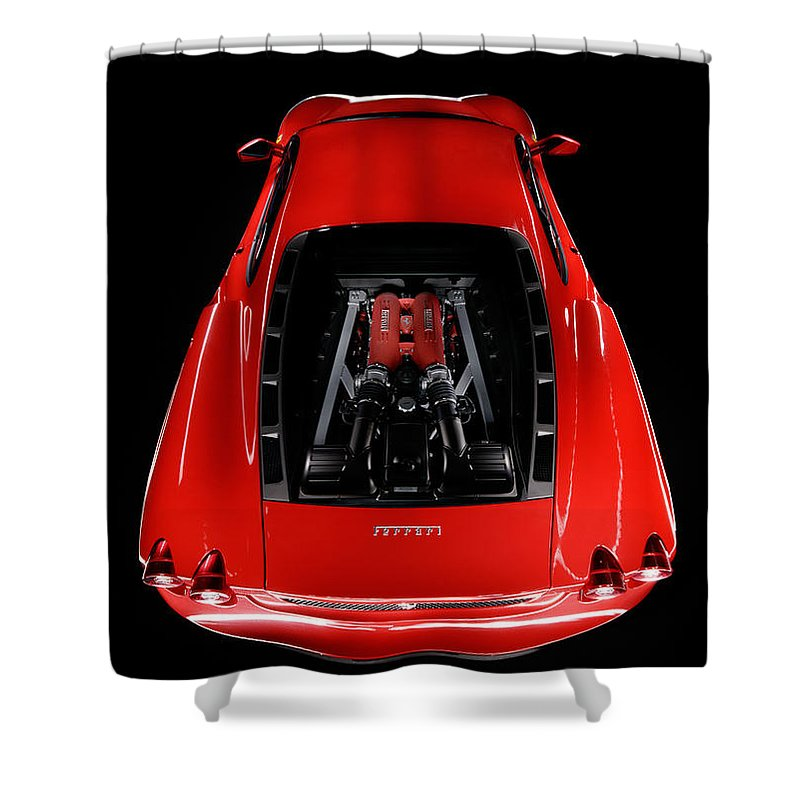 Red Shower Curtain featuring the photograph Ferrari F430 Engine by Frank Kletschkus