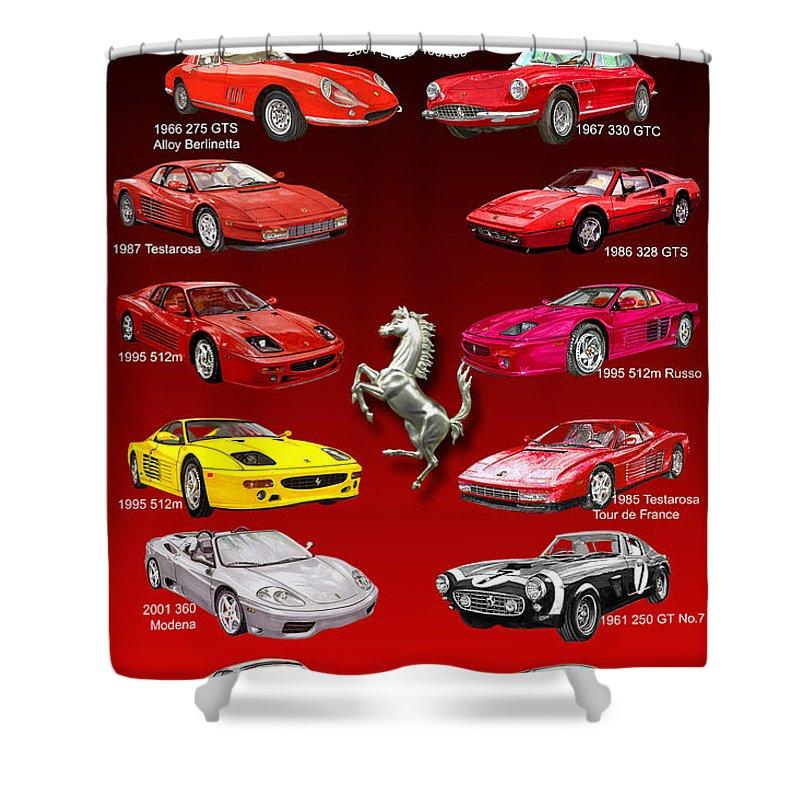 Framed Prints Of Ferrari Art Shower Curtain featuring the painting Ferrari Sports Car Poster by Jack Pumphrey