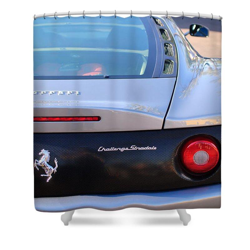 Ferrari Rear Emblem - Ferrari Emblem Shower Curtain featuring the photograph Ferrari Rear Emblem - Taillights -0089c by Jill Reger