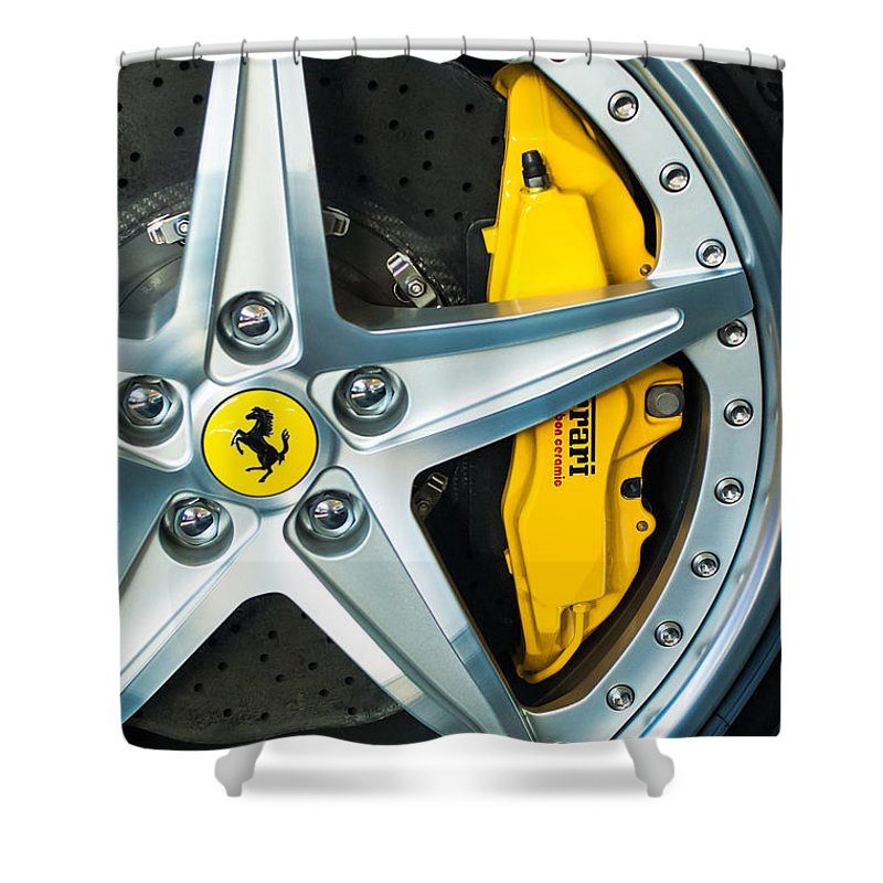 Ferrari Shower Curtain featuring the photograph Ferrari Wheel 3 by Jill Reger