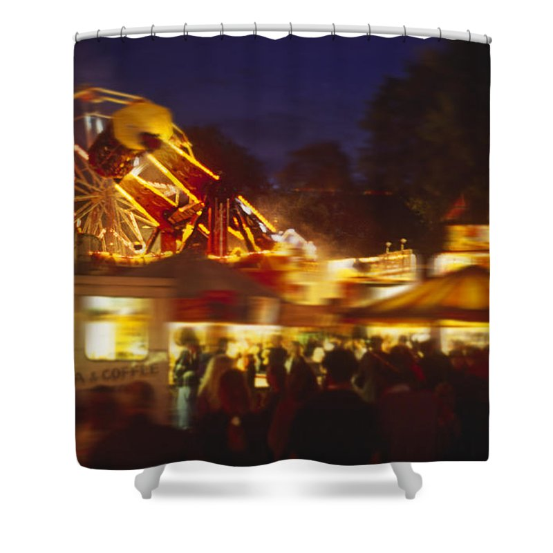 Ferris Wheel Shower Curtain featuring the painting Ferris by Charles Stuart
