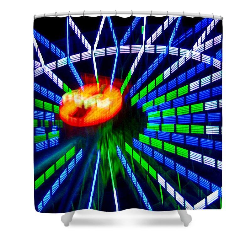 #ferriswheel #contemporaryart #surreal #abstract #modernart #inmotion #okinawa #japan #nihon #driveby #streetart #zazzle #photog #togs #fineart Shower Curtain featuring the photograph Ferris Wheel by Steve Lipson