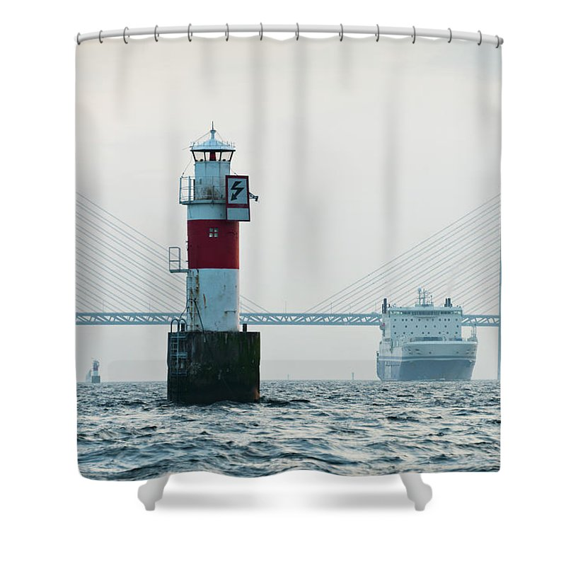 Copenhagen Shower Curtain featuring the photograph Ferry On Sea, Oresund Bridge In by Johner Images