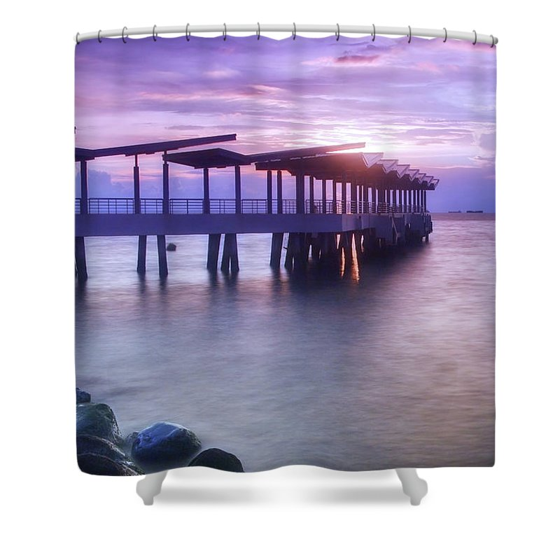 Scenics Shower Curtain featuring the photograph Ferry Station by Melv Pulayan