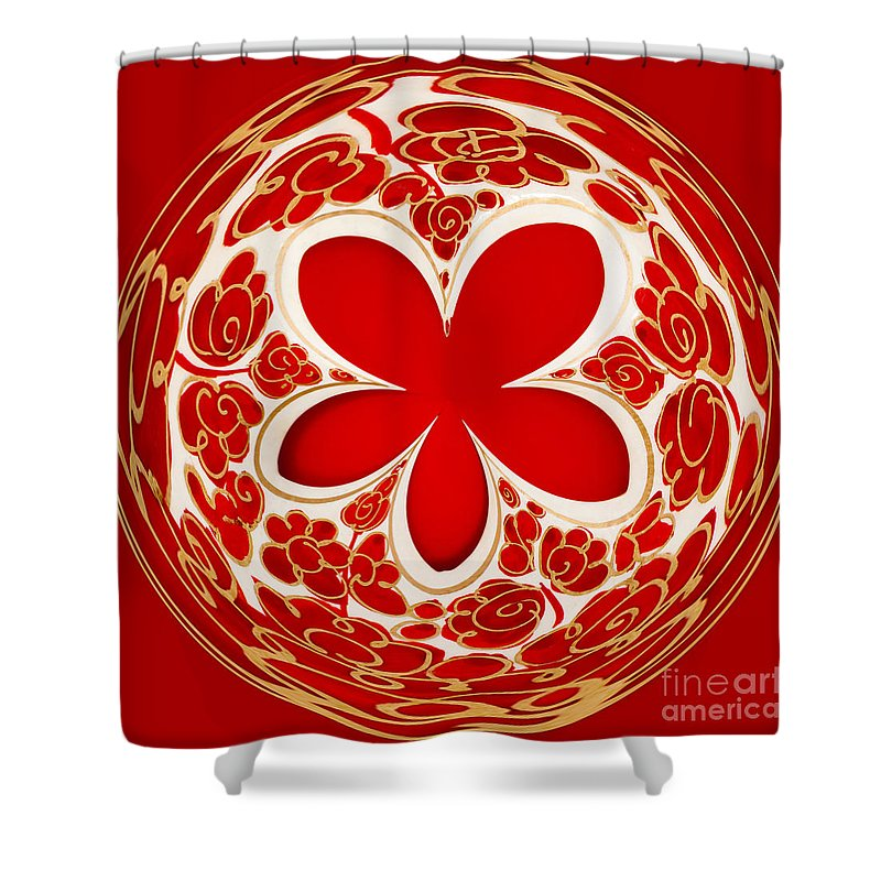 Background Shower Curtain featuring the photograph Festive Star Bauble Orb by Anne Gilbert