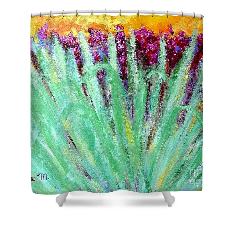 Abstract Shower Curtain featuring the painting Festoon by Laurie Morgan