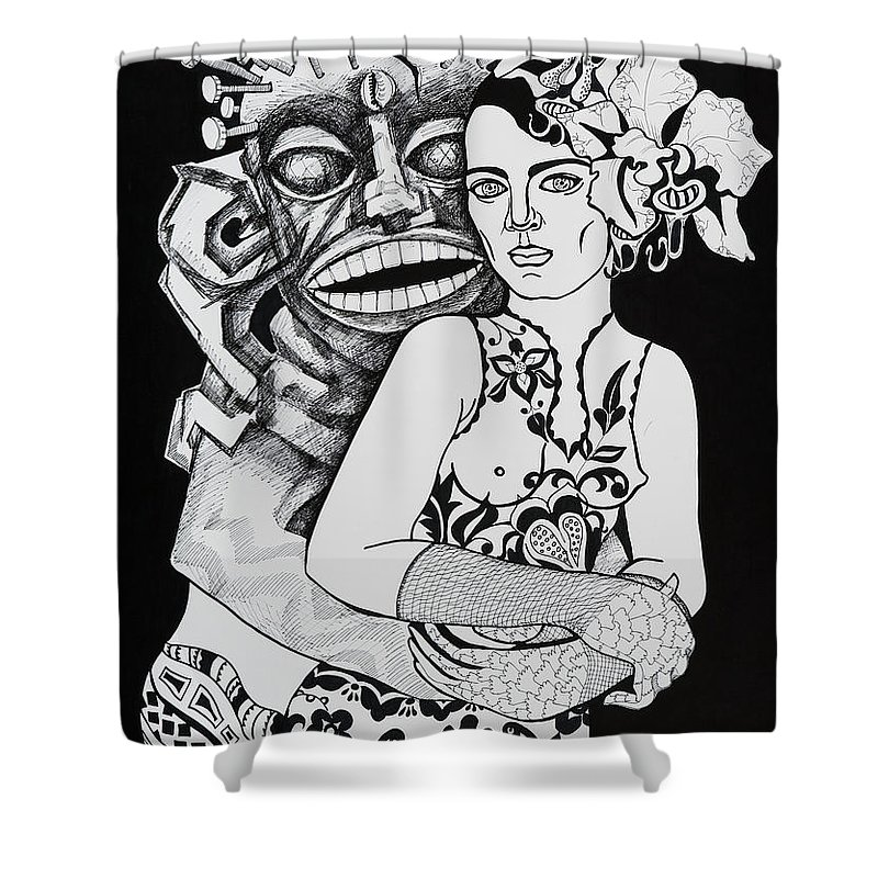Surreal Shower Curtain featuring the drawing Fetish Girl by Yelena Tylkina