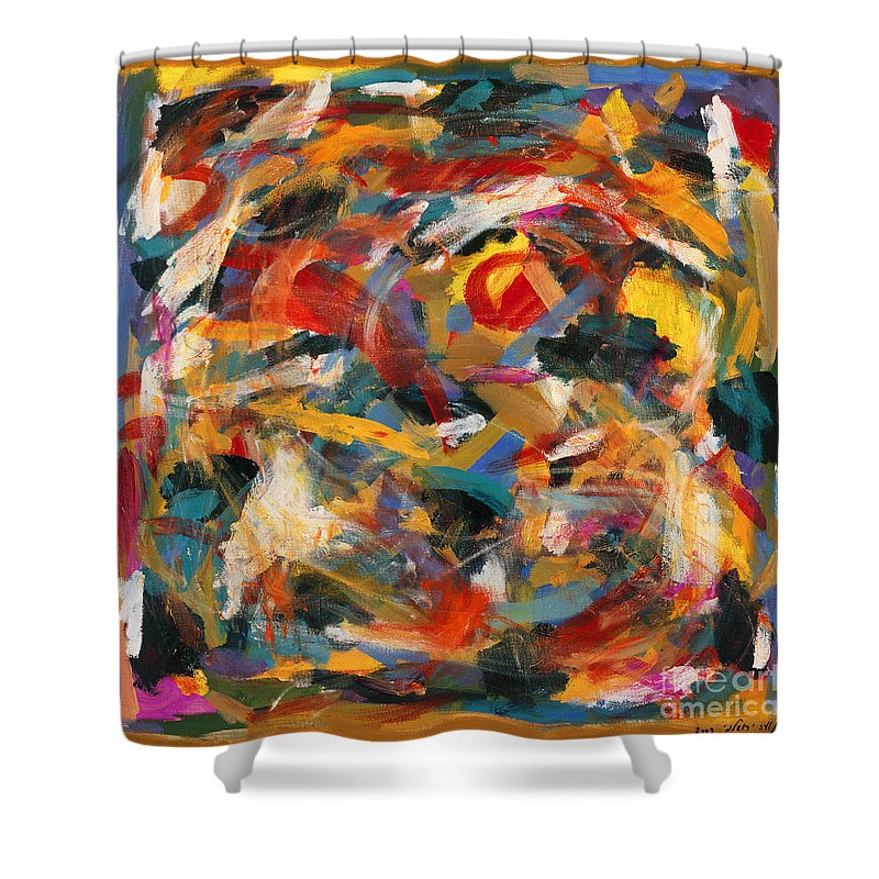 Abstract Shower Curtain featuring the painting Fetus by Noa Yerushalmi