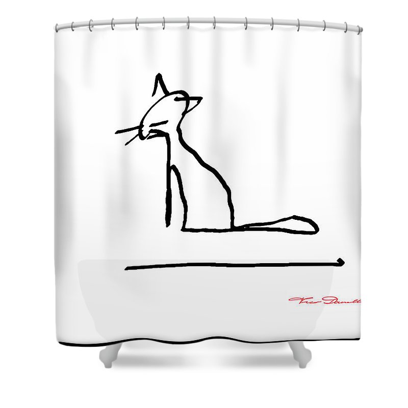 Theo Danella Shower Curtain featuring the drawing Fg 4 by Theo Danella