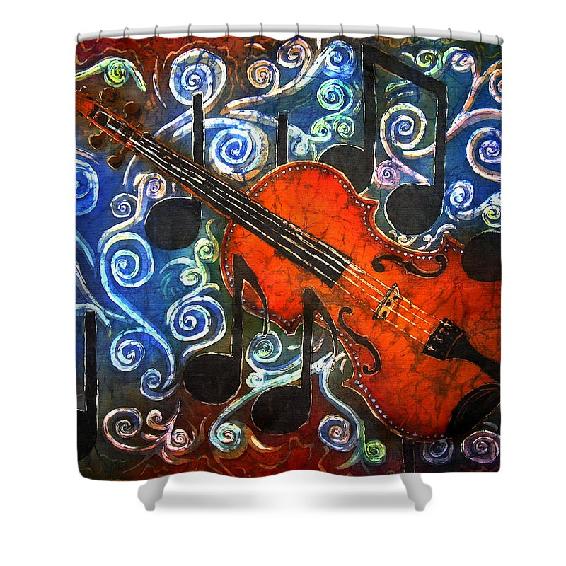 Fiddle Shower Curtain featuring the painting Fiddle - Violin by Sue Duda