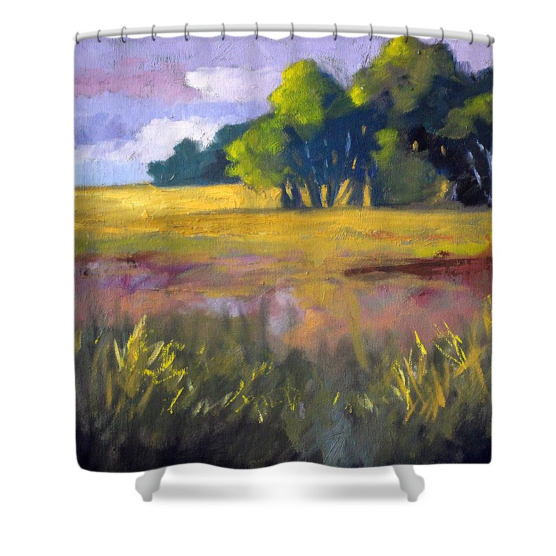 Oregon Shower Curtain featuring the painting Field Grass Landscape Painting by Nancy Merkle