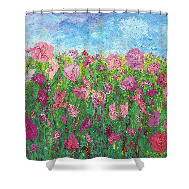 Abstract Canvas Prints Shower Curtain featuring the painting Field Of Pink For The Ladies by Krista Hopper