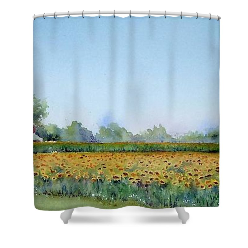 Landscape Shower Curtain featuring the painting Field Of Sunshine by Patricia Henderson