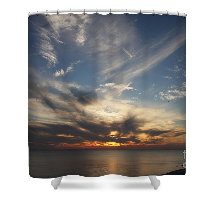 Sunset Shower Curtain featuring the photograph Fiery Sunset Skys by Christiane Schulze Art And Photography