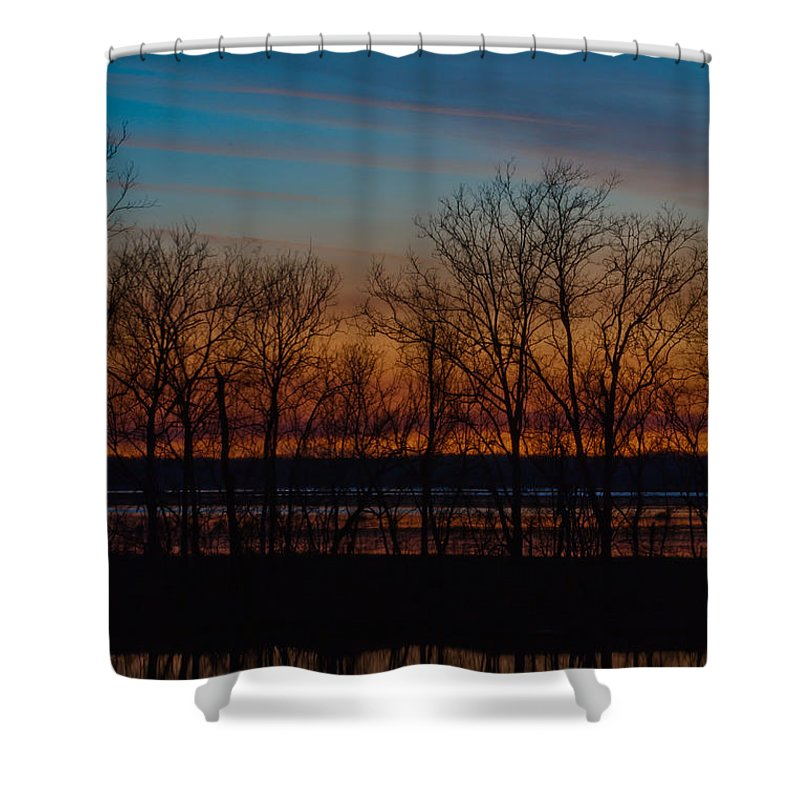 Louisiana Shower Curtain featuring the photograph Fiery Sunset by Susie Hoffpauir