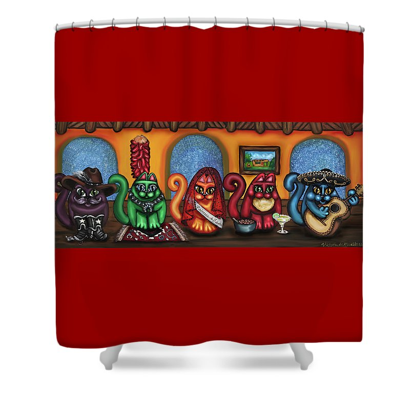 Folk Art Shower Curtain Featuring The Painting Fiesta Cats Or Gatos De Santa Fe By Victoria
