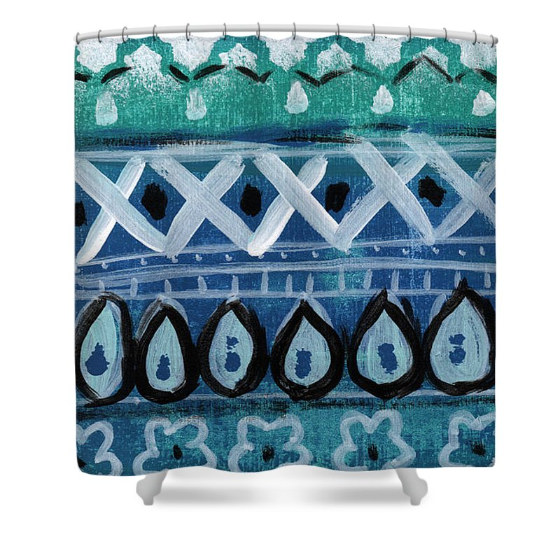Fiesta Shower Curtain Featuring The Mixed Media In Blue Colorful Pattern Painting By Linda