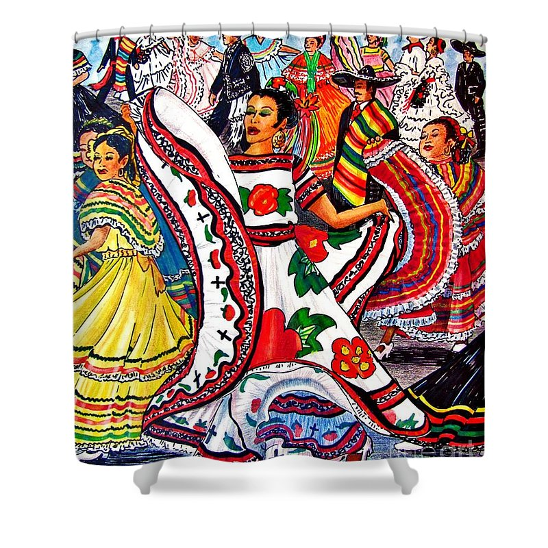 Spanish Dance Shower Curtain Featuring The Drawing Fiesta Parade By Marilyn Smith