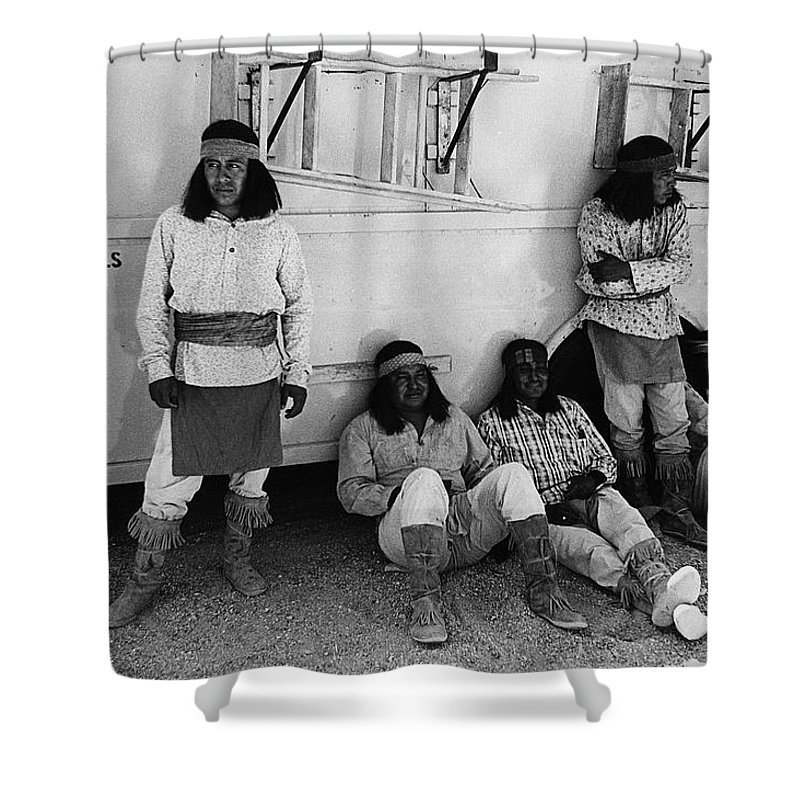 Film Homage Apache Extras The High Chaparral 1969 Old Tucson Arizona 1969-2008 Black And White Shower Curtain featuring the photograph Film Homage Apache Extras The High Chaparral 1969 Old Tucson Arizona 1969-2008 by David Lee Guss