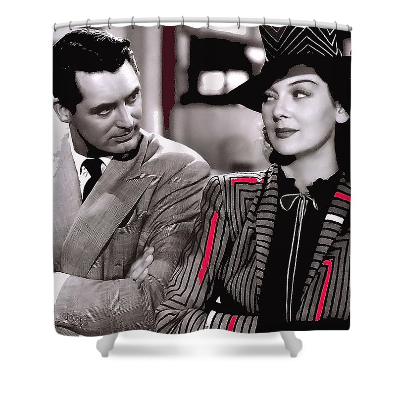 Film Homage Cary Grant Rosalind Russell Howard Hawks His Girl Friday 1940-2008 Toned Color Added Shower Curtain featuring the photograph Film Homage Cary Grant Rosalind Russell Howard Hawks His Girl Friday 1940-2008 by David Lee Guss
