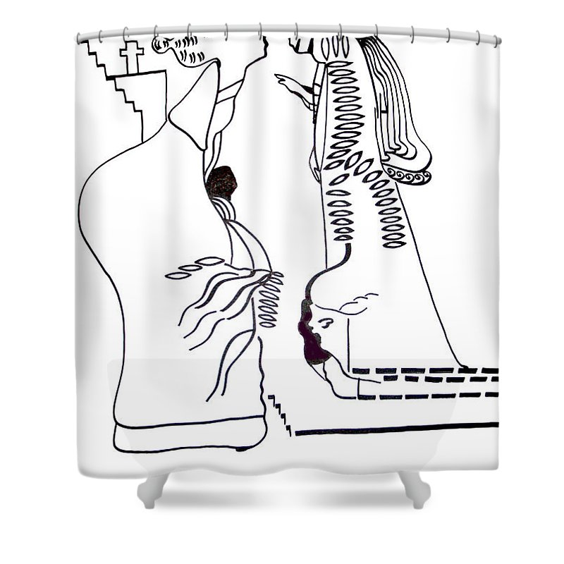 Jesus Shower Curtain featuring the drawing Finding Of The Lord Jesus In The Temple by Gloria Ssali