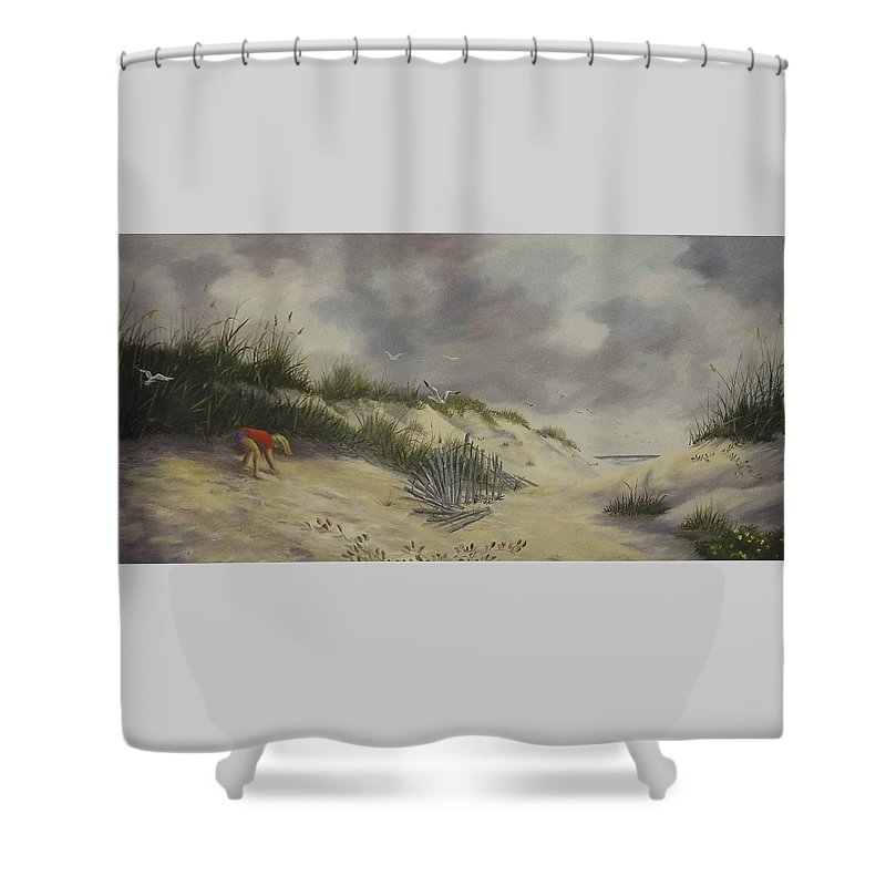 Seascape Shower Curtain featuring the painting Finding Treasure by Wanda Dansereau