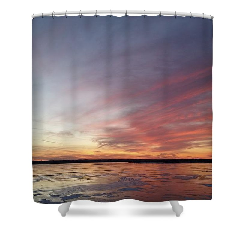 Branched Oak Lake Shower Curtain featuring the photograph Fire And Ice Fishing by Caryl J Bohn
