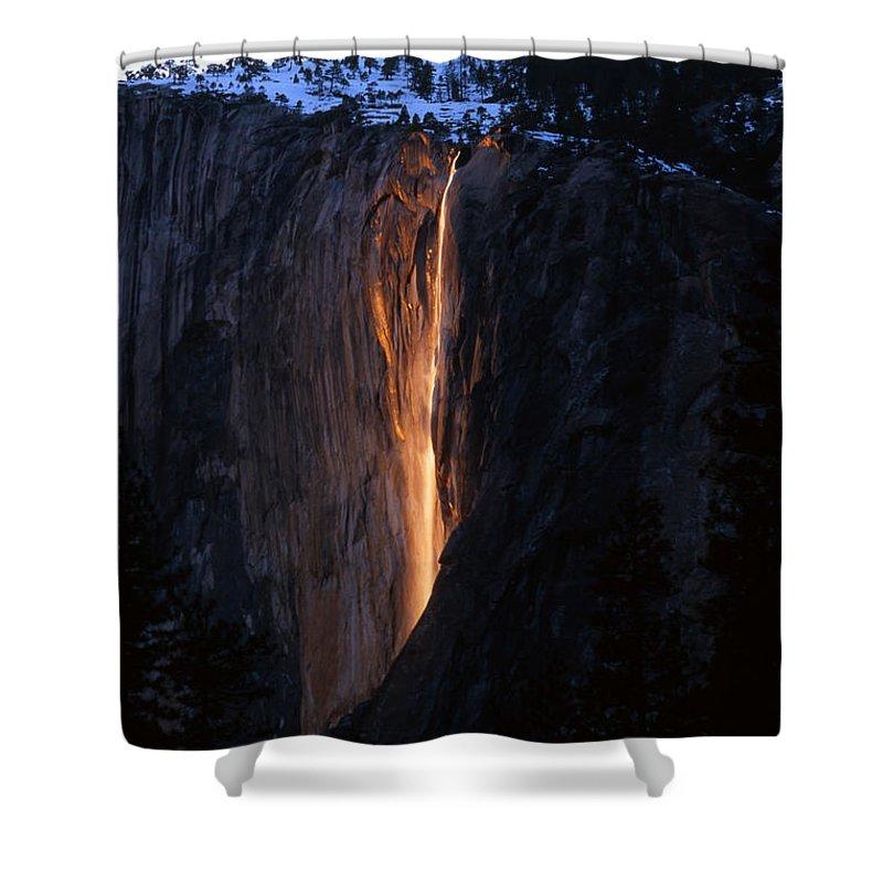 Fire Falls Shower Curtain featuring the photograph Fire Falls In Yosemite by Benedict Heekwan Yang