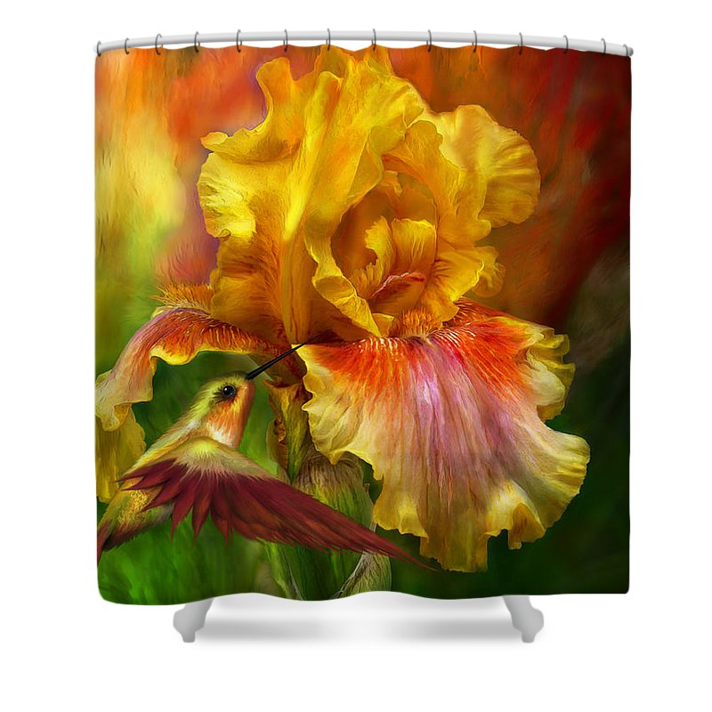 Iris Art Shower Curtain featuring the mixed media Fire Goddess by Carol Cavalaris