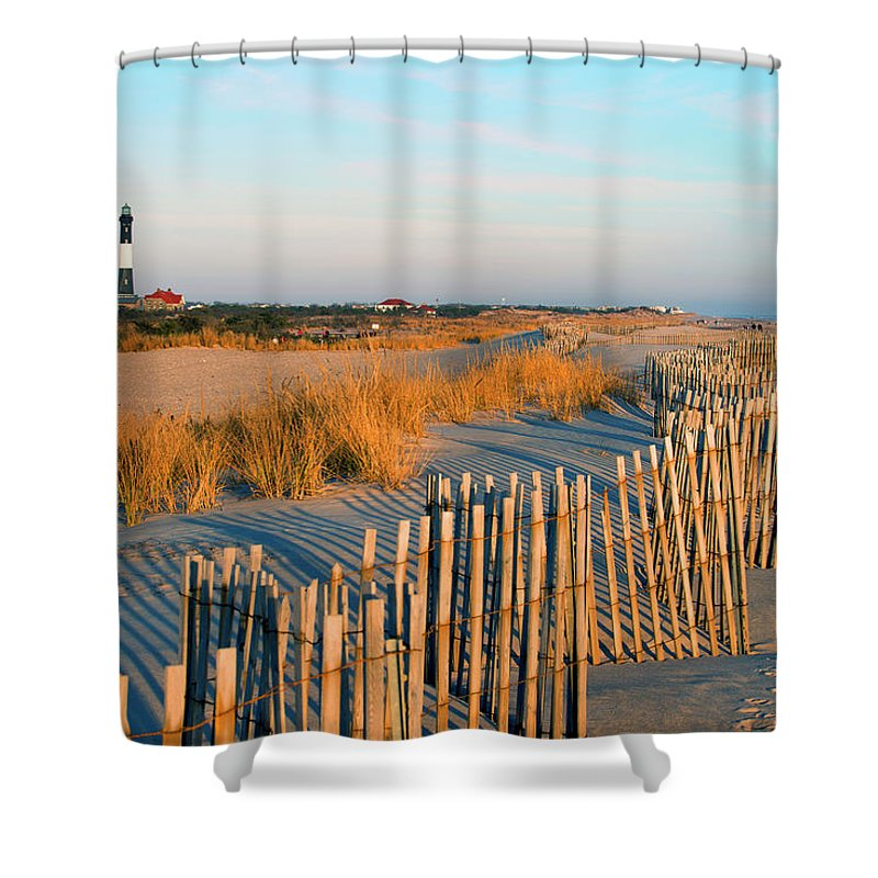 Shadow Shower Curtain featuring the photograph Fire Island Lighthouse, Long Island, Ny by Rudi Von Briel