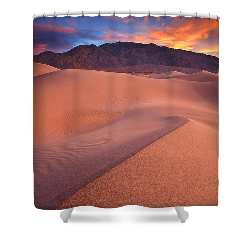 Death Valley Shower Curtain featuring the photograph Fire On Mesquite Dunes by Darren White