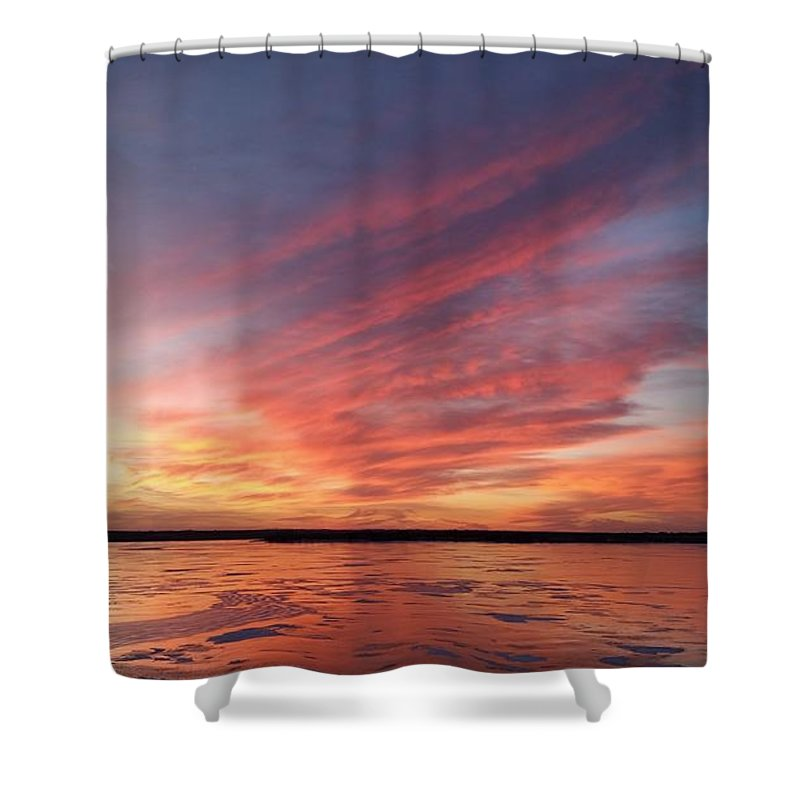Branched Oak Lake Shower Curtain featuring the photograph Fire On The Lake by Caryl J Bohn