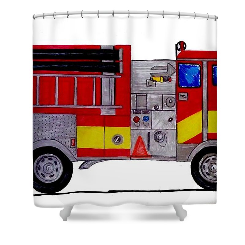 Fire Truck Shower Curtain For Sale By Mark Moore