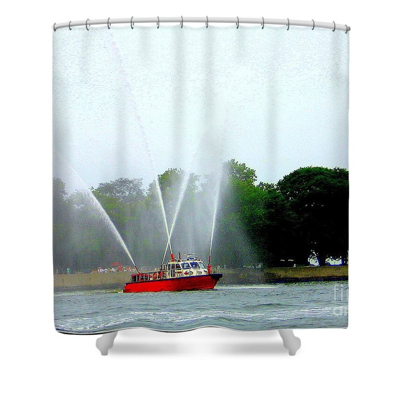 Fireboat Water Show On Long Island Sound - New York- Nature - Nautical - Boats Shower Curtain featuring the photograph Fireboat Water Show On Long Island Sound by Dora Sofia Caputo Photographic Design and Fine Art
