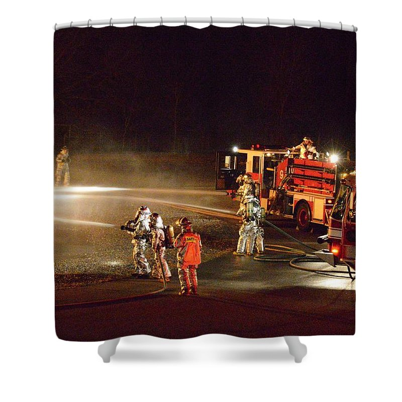 Firefighter Shower Curtain featuring the photograph Firefighters At Work by Aaron Martens