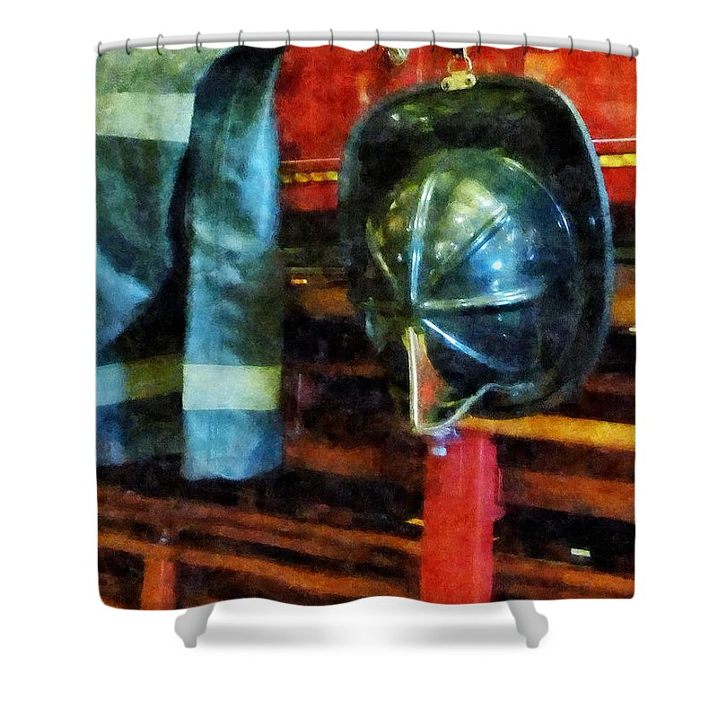Firefighters Shower Curtain featuring the photograph Fireman - Fireman's Helmet And Jacket by Susan Savad