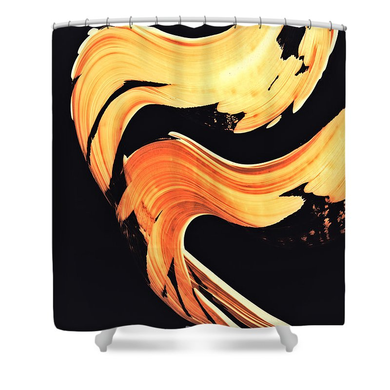 Abstract Shower Curtain featuring the painting Firewater 5 - Abstract Art By Sharon Cummings by Sharon Cummings