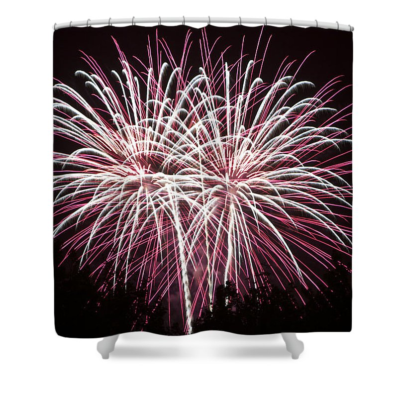 Colors Shower Curtain featuring the photograph Fireworks Bursts Colors And Shapes 7 by SC Heffner